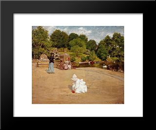 A Bit Of The Terrace (Aka Early Morning Stroll):  Modern Black Framed Art Print by William Merritt Chase