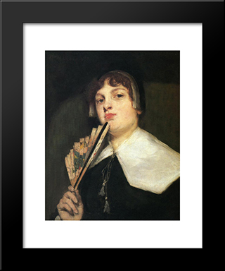 A Coquette:  Modern Black Framed Art Print by William Merritt Chase