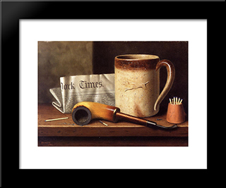 His Mug And His Pipe:  Modern Black Framed Art Print by William Michael Harnett
