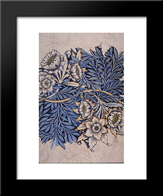 Design For Tulip And Willow Indigo-Discharge Wood-Block Printed Fabric:  Modern Black Framed Art Print by William Morris