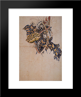Design For Windrush Printed Textile:  Modern Black Framed Art Print by William Morris