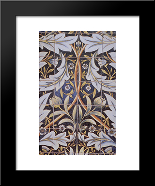 Panel Of Ceramic Tiles Designed By Morris And Produced By William De Morgan:  Modern Black Framed Art Print by William Morris