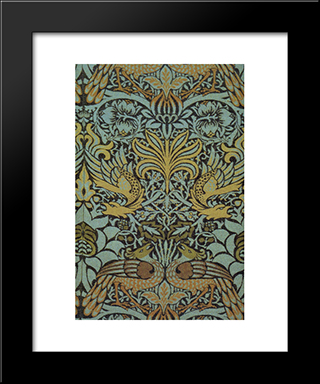Peacock And Dragon Woven Wool Furnishing Fabric:  Modern Black Framed Art Print by William Morris
