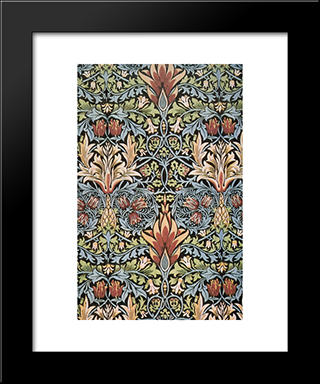 Snakeshead Printed Textile:  Modern Black Framed Art Print by William Morris