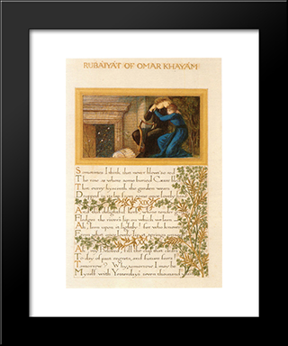 The Rubaiyat Of Omar Khayyam, Text And Decoration By Morris With Illustrations By Burne-Jones:  Modern Black Framed Art Print by William Morris