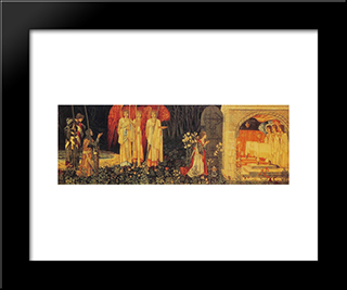 The Vision Of The Holy Grail Tapestry:  Modern Black Framed Art Print by William Morris