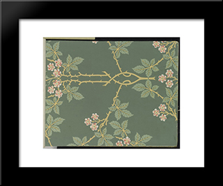 Wallpaper - Blackberry, Pattern #388:  Modern Black Framed Art Print by William Morris