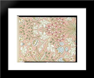 Wallpaper - Hyacinth, Pattern #480:  Modern Black Framed Art Print by William Morris