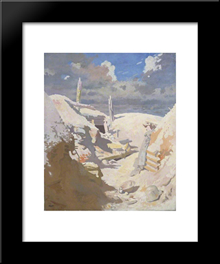 A Gunner'S Shelter In A Trench, Thiepval 1917:  Modern Black Framed Art Print by William Orpen