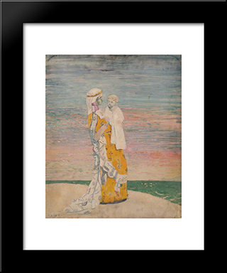 Mother And Child On The Beach:  Modern Black Framed Art Print by William Orpen