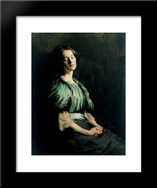 Portrait Of A Girl Wearing A Green Dress 1899:  Modern Black Framed Art Print by William Orpen