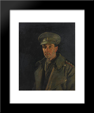 Portrait Of Captain Wood Of The Royal Inniskilling Fusiliers 1919:  Modern Black Framed Art Print by William Orpen