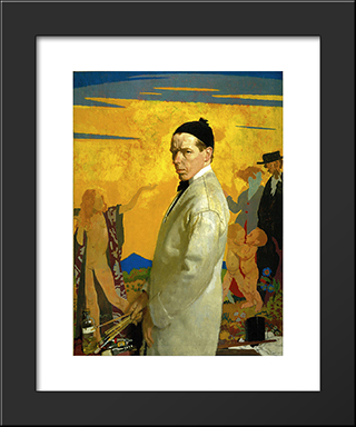 Self-Portrait Painting Sowing New Seed (1913):  Modern Black Framed Art Print by William Orpen