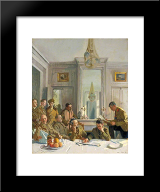 Some Members Of The Allied Press Camp With Their Press Officers 1918:  Modern Black Framed Art Print by William Orpen