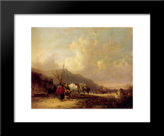 A Busy Beach Scene:  Modern Black Framed Art Print by William Shayer