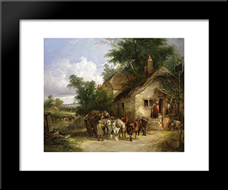 A Halt At The Inn:  Modern Black Framed Art Print by William Shayer