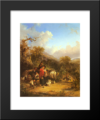 A Rest By The Roadside:  Modern Black Framed Art Print by William Shayer