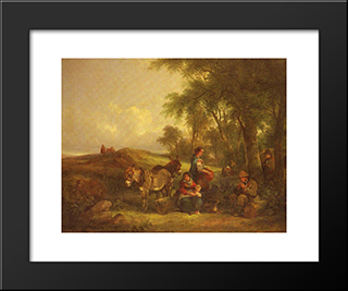 Afternoon Rest:  Modern Black Framed Art Print by William Shayer