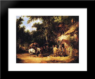 At The Bell Inn, Cadnam, New Forest:  Modern Black Framed Art Print by William Shayer