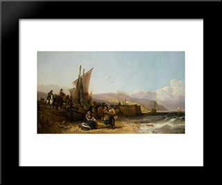 Bargaining For The Catch:  Modern Black Framed Art Print by William Shayer