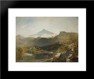 Ben Nevis And Mountain Stream:  Modern Black Framed Art Print by William Shayer