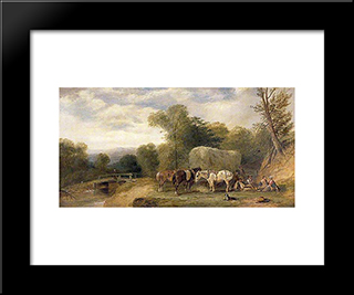 Carthorses And Rustics By A Stream:  Modern Black Framed Art Print by William Shayer
