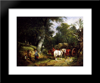 Carting Timber In The New Forest:  Modern Black Framed Art Print by William Shayer