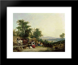 Country Life:  Modern Black Framed Art Print by William Shayer