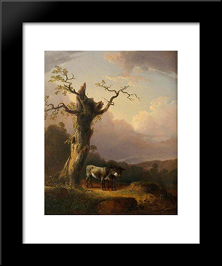 Donkeys In Landscape:  Modern Black Framed Art Print by William Shayer