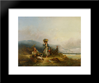 Fisherfolk And Their Catch By The Sea:  Modern Black Framed Art Print by William Shayer