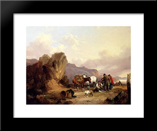 Fisherfolk Sorting The Catch:  Modern Black Framed Art Print by William Shayer