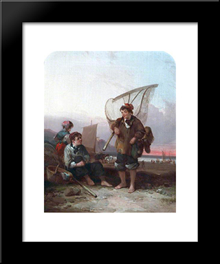 Fishermen:  Modern Black Framed Art Print by William Shayer