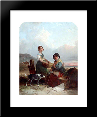 Fisherwomen:  Modern Black Framed Art Print by William Shayer