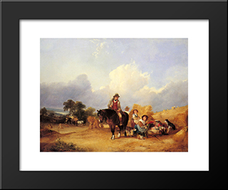 Harvest Time:  Modern Black Framed Art Print by William Shayer