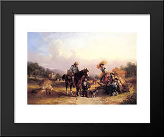 Harvesters Resting:  Modern Black Framed Art Print by William Shayer