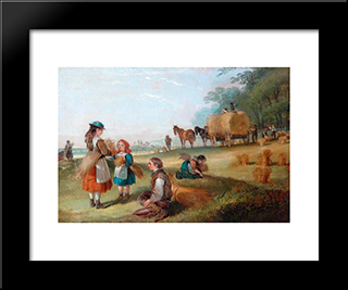 Harvesting:  Modern Black Framed Art Print by William Shayer