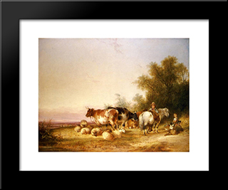 Herders Resting At Lunch:  Modern Black Framed Art Print by William Shayer