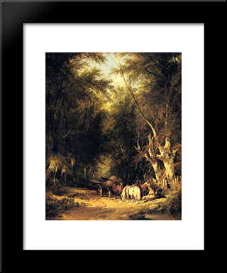 In The New Forest:  Modern Black Framed Art Print by William Shayer