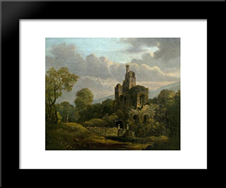Landscape With A Ruined Castle:  Modern Black Framed Art Print by William Shayer