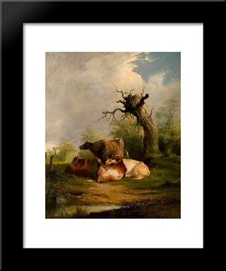 Landscape With Cattle:  Modern Black Framed Art Print by William Shayer