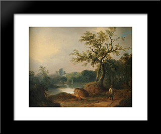 Landscape With Figures On A Path:  Modern Black Framed Art Print by William Shayer