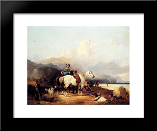 Looking Out To Sea:  Modern Black Framed Art Print by William Shayer