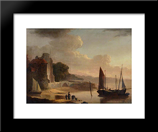 Mouth Of The Old Canal:  Modern Black Framed Art Print by William Shayer