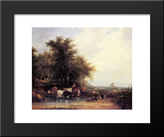 Near The New Forest:  Modern Black Framed Art Print by William Shayer
