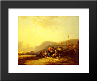 On The Hampshire Coast:  Modern Black Framed Art Print by William Shayer