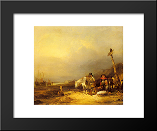 On The South Coast:  Modern Black Framed Art Print by William Shayer