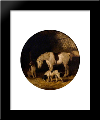 Pony And Dogs:  Modern Black Framed Art Print by William Shayer