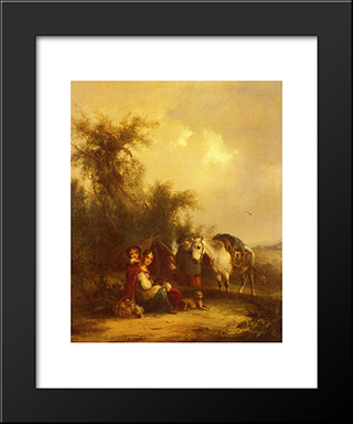 Resting Along The Trail:  Modern Black Framed Art Print by William Shayer