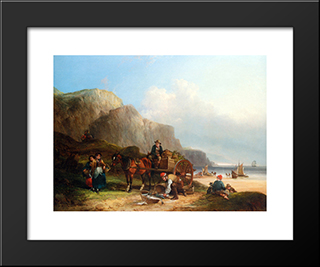 Scene In The Isle Of Wight:  Modern Black Framed Art Print by William Shayer
