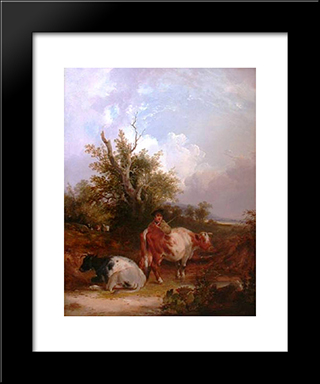 The Cowherd:  Modern Black Framed Art Print by William Shayer
